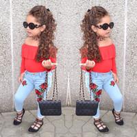forro vermelho do terno azul venda por atacado-desgaste Hot terno estilo infantil INS infantil do bebê Crianças da Red off-a-ombro linha do ombro jaqueta + Blue rose calças jeans