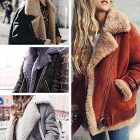 ingrosso cappotti di scamosciati faux-4 colori rivestimento delle donne del motociclo pelle scamosciata del Faux Fur Coats caldo pile Outwear il cappotto delle signore di inverno Giacche Zipper Cappotto CCA10919