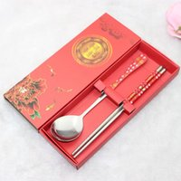 Wholesale chinese new gifts online - Stainless Steel Chopsticks Spoon Ramadan Two Piece Suit Company Activity Small Gift Practical Red Hot Sales sw C1