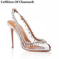 sapato claro para casamento venda por atacado-Bombas Do Partido Queda De Diamante Mulheres Tamanho 43 44 45 Sapatos De Casamento Glitter Cristal Jóias Limpar Slingback Bombas Peep Toe Sapatos De Noiva