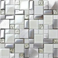 ingrosso piastrelle bianche per la cucina-Cristallo backsplash piastrelle mosaico di vetro bianco SSMT104 argento acciaio inossidabile metallo mosaico cucina bagno piastrelle di vetro della parete