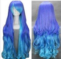 perruque mélange bleu violet achat en gros de-Perruque Livraison gratuite Femmes Longue Bouclés Pourpre Bleu 36
