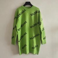 ingrosso maglione verde pullover-2019 Autunno Nero / Verde / Rosso Pullover da donna Designer Logo Lettera Print Maglioni lunghi da donna 82992