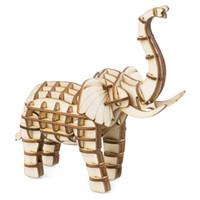 coche de juguete de madera diy al por mayor-Decoración para el hogar estatuilla Diy elefante miniatura de madera modelo de la vendimia decoración del coche accesorios de juguete de regalo para niños Tg20