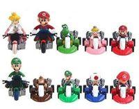 mario arabaları toptan satış-Geri Çekin Araba Bebek Süper Mario Aksiyon Figürleri Plastik Anime Koleksiyonu Dekorasyon Sevimli Noel Hediyesi 10 adet Set 52hw F1