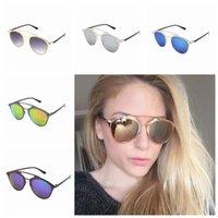ingrosso occhiali multicolori-Montatura a specchio oro Occhiali da sole Donna Moda Nuovo designer Occhiali da sole Ombrellone Classica Lady Cool Multicolor Eyeglass ZZA1085