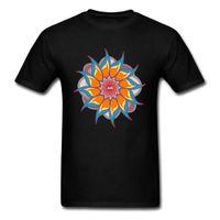 Wholesale white red lotus flowers resale online - Mandala Lotus Flower Pattern Men T Shirt Summer Autumn Tops Tees O Neck Cotton Soft Tee Shirts Om Art T Shirts