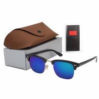 blaue männer sonnenbrillen rahmen großhandel-Großhandels-beste Qualitätsglassonnenbrille Art- und Weisegoldrahmen-blaue Spiegel-Sonnenbrille für Männer und Frauen UV400 Sport-Sonnenbrille mit Kasten