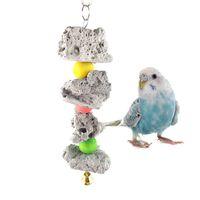 forniture per pappagalli Corda in cotone resistente in legno colorato Giocattolo da masticare per uccelli appendere i blocchi String Bite Grande medio e piccolo Pet Bird Stand Rack giocattolo da gioco