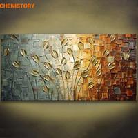 cuchillo de pintura al óleo al por mayor-Arte hecho a mano sin marco textura cuchillo árbol de la flor abstracta moderna pintura al óleo del hogar de la lona decoración de la pared para la decoración