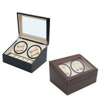 vitrinas para relojes al por mayor-PU cuero automático 4 + 6 reloj Winder Rotator Caja de almacenamiento Caja de exhibición Organizador Funcionamiento silencioso Rotación automática Todos los aspectos