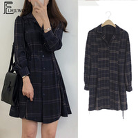 Wholesale cute dress above knee korean for sale - Group buy Autumn Ground Mini Clothes Hot Women Long Arm Japan Korean Style Design Nice Cute A Line Vintage Girls Carved Shirt Y19071001