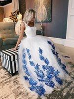 ingrosso abiti da cerimonia nuziale blu royal-Abiti da sposa in pizzo bianco blu royal applique abiti da ballo 2019 Scoop Zipper ricevimento di nozze abiti da sposa partito vestito formale donne