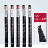 encre à sourcils brun achat en gros de-Crayon à sourcils quatre têtes crayon à sourcils crayon à sourcils pointe de la fourche étanche stylo à encre quatre têtes LJJW176