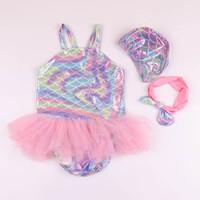 bikini mayo mayo toptan satış-Mermaid çocuklar mayo dantel kız bikini bebek kız mayo kızlar yüzmeye uygun mayo + şapka + yaylar kafa 3 adet / takım Çocuklar A6401