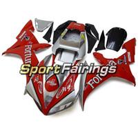 yamaha r1 santandır toptan satış-Yamaha 2002 2003 Için SIKA Santander Kırmızı Siyah Gümüş Fairing YZF1000 R1 Tam Plastik Parçalar R1 02 03 Kaporta Panelleri Enjeksiyon Bisiklet Kapakları
