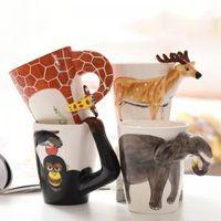 ingrosso tazza in ceramica animale-Creativo dipinto a mano animali tazza di ceramica tridimensionale cartone animato carino tazze di caffè tazze di cartone animato scimmia giraffa tazza di elefante LJJT188