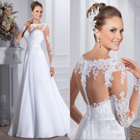 Wholesale colorful wedding dresses for sale - Group buy 2019 Vintage Robe de Mariee Sexy Back Bride Dress Wedding Dress White Lace Long Sleeves Wedding Gowns Vestidos de Noiva BC1014