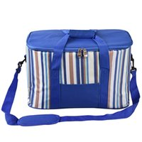Wholesale blue stripped bags for sale - Group buy 35l cooler bag large stripped blue Shoulder Bags ice box Portable Picnic Ice Pack insulated bags Aluminium foil picnic box