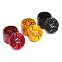 Wholesale frosted flower online – custom Aluminium Alloy Smoke Grinders Frosted Carved Flower Tobacco Grinder Four Layers Golden Color Border Tobaccos Crusher New Arrival