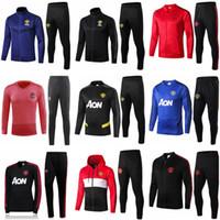 jaqueta jogging homem venda por atacado-19 20 homens terno treinamento manchester Lukaku Rashford sportswear jaqueta de futebol azul pé de jogging 2019 Pogba United Soccer Treino