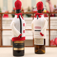 Wholesale knitted wine bottle covers for sale - Group buy 1SET Festive Plush Cute Knitted sweaters Wine Bottle Cover Bag Banquet Christmas Dinner Party Table Decor new years supplies
