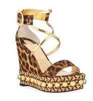 vestido de tacones de leopardo al por mayor-Mujeres perfectas Vestido Weddin Tacones Altos Sandalias de Fondo Rojo Chocazeppa Leopardo Cuña Suela Roja Sandalias Alpargatas Super Calidad Size35-42