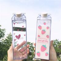 Wholesale strawberry milk for sale - Group buy 1PCS Creative sakura strawberry ml Square Water Bottle Milk Box portable my drinking bottle BPA Free for Girl Kid School