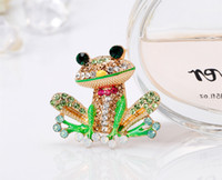 Wholesale brooches frogs resale online - Fashion Cute Women Girls Mens Wedding Party Prince Frog Brooch Alloy Studded Exquisite Pin Crystals Wedding Accessories