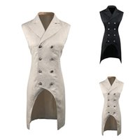 мужская без рукавов длинная куртка оптовых- New Men Vintage Suit Jackets Sleeveless Long Veste Costume Male Slim Jackets For Men Solid Double Breasted Tailcoat