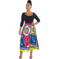 fb839cf1c32e9 Womens Pleated A-line Midi Skirt Fashion Print High Waist Pattern Elastic  Mid-Calf Skirts Lady 2019 Long Summer Bottoms Woman