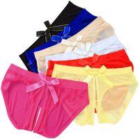 sexo aberto da roupa interior da virilha venda por atacado-Lingerie Sexy Cheeky Virilha Aberta cuecas das mulheres Crotchless Calcinhas cuecas brinquedos de malha com arco de volta