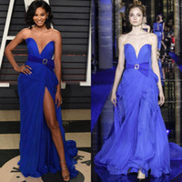 Wholesale chiffon prom dress sweetheart neckline resale online - royal blue sexy split evening dresses new zuhair murad couture dresses for evening sweetheart neckline prom gowns sweep train