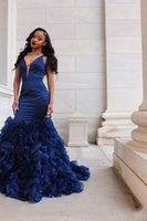ingrosso gonne blu-Modest Royal Blue Mermaid Prom Dresses 2019 Abiti da sera Evening Deep Neck Neck senza maniche Ruffles Organza Skirt vestido de novia