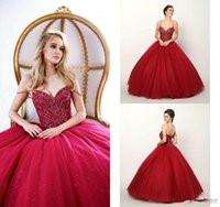 Wholesale sexy corset models online - 2019 Red Beaded Prom Dresses Sleeveless Spaghetti Luxury Quinceanera Dress Sweet Masquerad Ball Gowns Corset Ball Gown Evening Gown