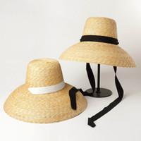 chapéu de abas largas de palha preta venda por atacado-Mulheres Verão Big Floppy Hat trigo chapéu de palha com laço de fita branca Black Tie 15 centímetros de largura Brim Chapéu de Sol UV Protection Praia