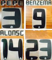 impressão real de madrid venda por atacado-10 11 Real Madrid impressão de etiqueta de plástico de estampagem a quente retro impressa de Ronaldo fonte número Nome de futebol preto nameset BENZEMA ALONSO jogador