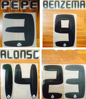 gerçek çıkartmalar toptan satış-10 11 Real Madrid Ronaldo yazı tipi adı numarası siyah futbol nameset BENZEMA ALONSO oyuncunun sıcak bir retro baskılı damgalama plastik etiket baskı