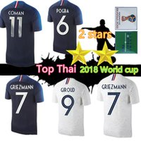 Wholesale world cup for sale - Group buy 2 Star world cup soccer jersey GRIEZMANN MBAPPE POGBA Home away Blue and white soccer jersey Two Stars DEMBELE MARTIAL football shirt