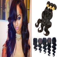 siyah kıvırcık örgüler toptan satış-Brezilyalı vücut dalga İnsan saç uzantıları 3 demetleri + 5 * 2.8 mini dantel kapaklar İnsan saç örgüleri kıvırcık kıllar doğal siyah 350gr