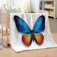 Wholesale colorful adult bedding for sale - Dropship Custom DIY Butterfly Print Microfiber Bed Blanket Cartoon Throw Blanket for Kids Colorful Home Textiles Sweet Dream