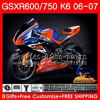 ingrosso kit corporeo per gsxr-Corpo per SUZUKI GSX R750 GSX R600 GSXR 600 750 GSXR750 06-07 8HC.82 GSXR-750 GSX-R600 Race arancione nuovo K6 GSXR600 06 07 2006 2007 Kit carena