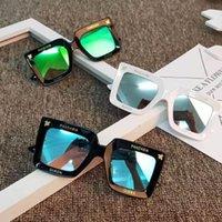 ingrosso occhiali da sole di marca per i bambini-Occhiali da sole quadrati oversize per bambini Progettista di marca Specchi per lenti a specchio Decorazione Bambini Ragazze Occhiali da sole Nuovo modo di arrivo