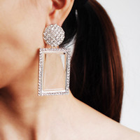 Wholesale square metal studs online - luxury women s female s ladies Bohemian Metal plum earrings women Personality street style geometric Geometric square full diamond earrings