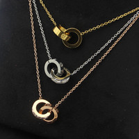 zwei halsketten großhandel-2019 großhandel Vergoldet Doppel Ringe Anhänger Halskette Halsreif 316L Edelstahl Zwei Kreis Ringe Halskette Schmuck Für Frauen