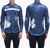 джинсовая джинсовая рубашка напечатана оптовых-Italist Джинсовые рубашки с краской для мужчин и женщин с принтом и отделкой из листвы с длинными рукавами