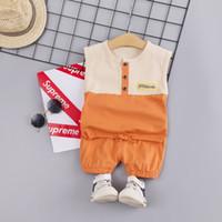 мальчик высокие вершины оптовых-Summer Children Baby Boys 2Pcs/Set High Quality Casual Sleeveless Patchwork Design Vest Tops+Shorts Suits Costume Set