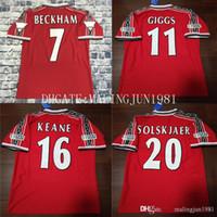 Wholesale jersey names for sale - Group buy Velvet Name Manchester Beckham Keane Solskjaer Giggs Champions FA Retro UTD Soccer jersey Classic Vintage Football Shirt