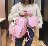 Wholesale womens handbag rivets for sale - Designer Luxury Backpack Purses Womens Bag New Fashion Recreational Soft Rivet and Tassel Three Piece Shoulder New Arrival Handbags Fashion