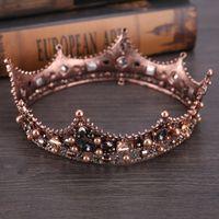 coroas redondas para noivas venda por atacado-Europeu-estilo retrô palácio rainha barroca noiva negra rodada ornamentos de cabeça de coroa
